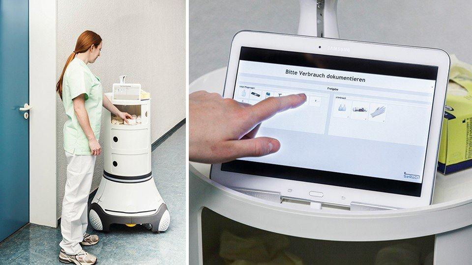 Der intelligente Links: Pflegewagen fährt autonom zum Einsatzort. Rechts: Über das Touchpad kann der Verbrauch an Pflegeutensilien dokumentiert werden.