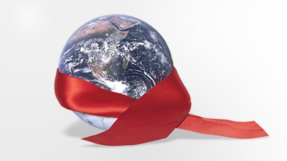 Weltkugel mit AIDS-Ribbon, Fakten zu HIV und AIDS