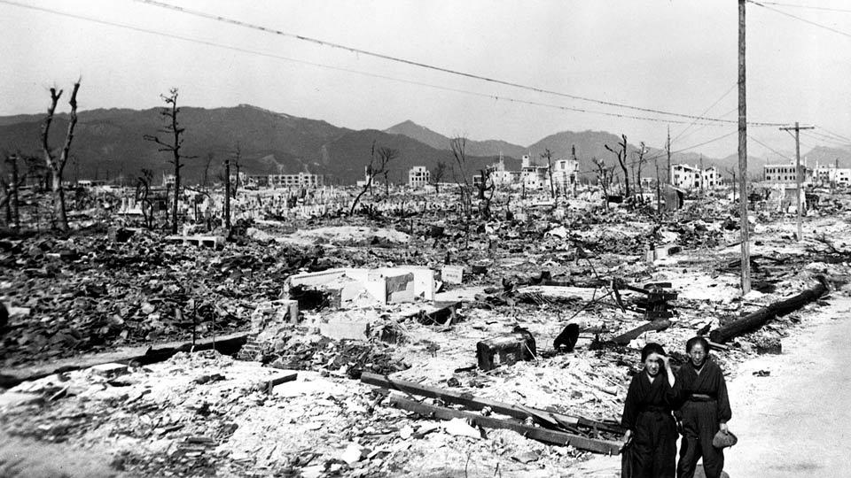 Blick auf die durch Strahlung verseuchte Stadt Hiroshima 1946.