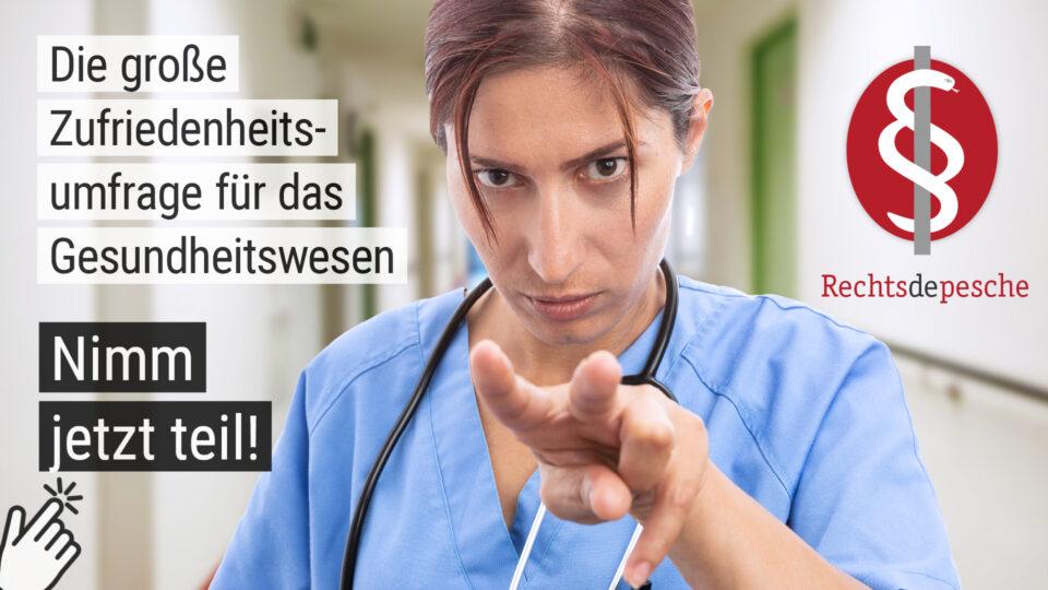 Nimm jetzt teil an der großen Umfrage der Rechtsdepesche zur Zufriedenheit der Beschäftigten in der Pflege