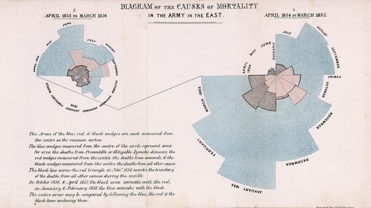 Beispiel eines Polar-Area-Diagramms von Florence Nightingale